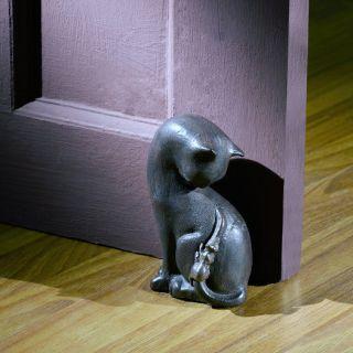 Cat Mouse Whimsical Door Stop Bookend Statue Cast Iron Doorstop Mice Kitten