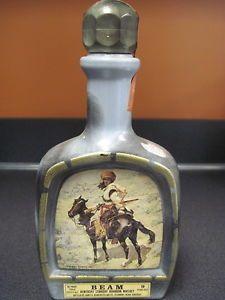 Empty Jim Beam Whiskey Decanter Bottle Remington Indian Trapper Frederic Liquor