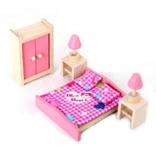 4 Sets Bathroom Nursery Bedroom Kitchen Wooden Doll House Furniture Miniature