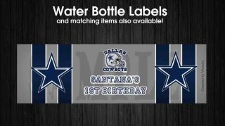 Birthday or Baby Shower Dallas Cowboys Football Water Bottle Labels