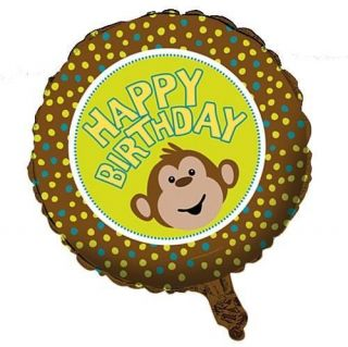 Monkeyin' Around Childrens Party Happy Birthday Monkey Foil Helium Balloon 18""