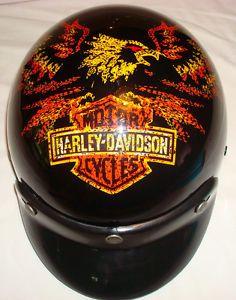 Harley Davidson agv Half Motorcycle Helmet RARE Graphics Design Size M Hot