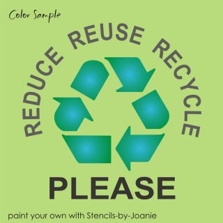 """Recycle Stencil 5"""" Symbol Reuse Reduce Please Go Green Eco U Paint Signs Bins"""