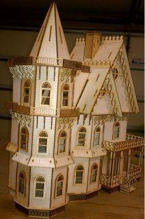 Leon Gothic Victorian Mansion Dollhouse Half inch 1 24 Scale Kit