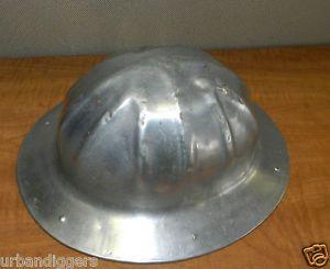 2909 Vintage Aluminum B F McDonalds Hard Hat Mining Logging Logger Los Angeles