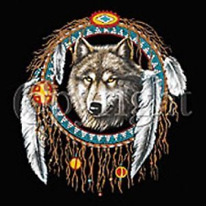 Colorful Native American Wolf Dream Catcher T Shirt Spirit Fantasy Pagan Indian
