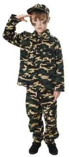 Army Boy Toy Soldier Fancy Dress Childrens Uniform Costume Outfit Hat Age 4 12