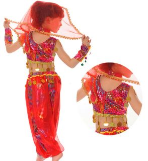 New Girls Party Belly Indian Sequins Costume Dance Dress Set 3 12y Clothes DS010