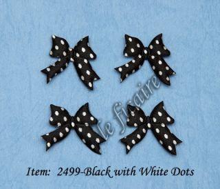 Polka Dots Satin Ribbon Bow Ties Appliques Crafts Black