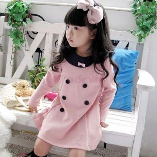 Girls Kids Pink Dress Dark Blue Collar Cute Bow Age 2 7 Years Outfit Costume