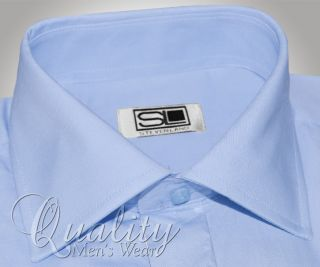 Steven Land Cutaway Collar 16 5 32 33 French Cuff Light Blue Dress Shirt Cotton