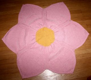 New Handmade Knitted Soft Pink Yellow Flower Design Baby Afghan Blanket