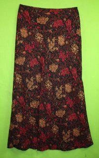 Worthington Sz 6 Womens Black Red Brown Long Maxi Skirt KD37