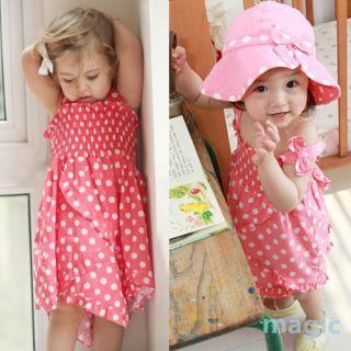 Kids Baby Girls Bowknot Pink Dot 3pcs Dress Pants Hat Set Outfit Clothes 0 36M