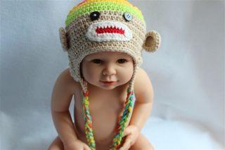 Lovely Handmade Baby Child Crochet Sock Monkey Hat Photograph Multi Color Beige