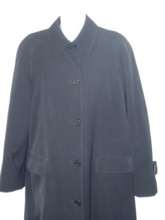 Talbots Womens Black Long Coat Trench Rain Coat with Wool Removable Lining Sz 6