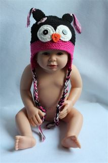 Cute Handmade Baby Child Cute Owls Knit Hat Cap Photograph Newborn to 3 Year New