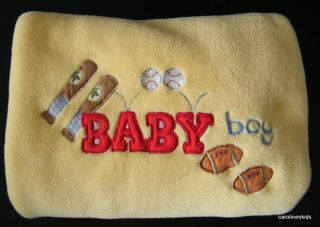 Yellow Baseball Bat Football Northpoint Red Letters Baby Security Blanket Plush