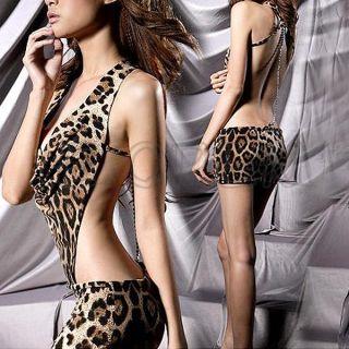 Womens Sexy Leopard Print Backless Teddy Clubwear Mini Skirt Dress G String Set