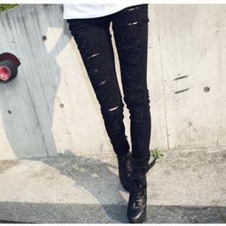 Women Black Cut Out Punk Ripped Jeans Sexy Skinny Leggings Jeggings Trousers New