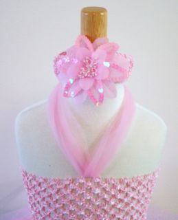 Baby Girls Tutu Dress Skirt Pink Glitter Flower Headband Tropical Infant Size 6
