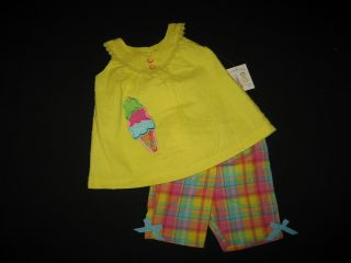"New ""Ice Cream"" Plaid Shorts Girls Clothes 3T Spring Summer Boutique Toddler"
