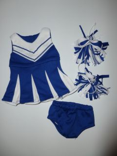 """Doll Clothes Fits 18"""" American Girl Blue White Cheerleader Outfit Pom Poms 3pc"""