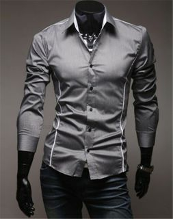 New Mens Fashion Mens Luxury Casual Slim Fit Stylish Solid Color Dress Shirts