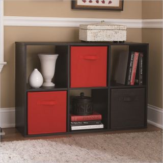 Ameriwood 6 Cube Storage in Black Ebony Ash   7641026P