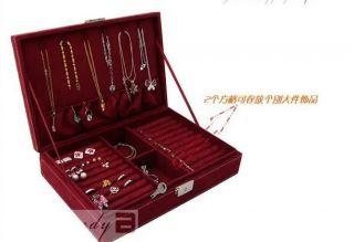 Fashion Women's Large Velvet Jewelry Ring Storage Box Case 4 Colors