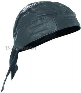 Solid Black Lambskin Leather Skull Cap Biker Head Wrap Doo Rag Motorcycle Hat