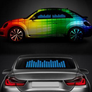 5 Size Car Sticker Music Rhythm LED Flash Light Lamp Sound Activated Equalizer