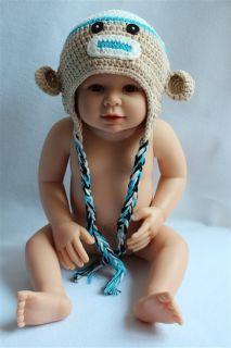 New Handmade Baby Child Crochet Sock Monkey Hat Photograph Blue Newborn to 3Year