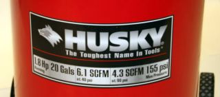 Husky 20 Gal 1 8 HP 155 PSI Wheeled Air Compressor Vertical Electric