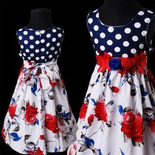 KD332 Bonny Billy Carthame Imprimé Et Polka Dots Fille Roses Floral Robes 3 12y