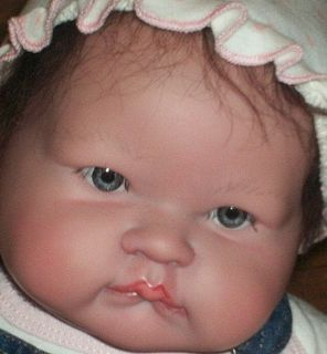 Big Baby Berenguer Sucky Face Reborn Doll OOAK 20' Blue Eyes Dark Mohair