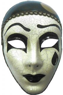 Adult Masquerade Ball Face Mask Mime Tear Black White Mardi Gras Carnival