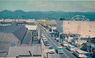 Oregon Seaside Broadway Street Scene 1950's Autos Ferris Wheel Chrome Postcard