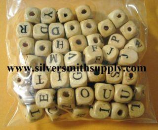 57pc Lot 10mm Wood Alphabet Cube Beads Large Hole WB002
