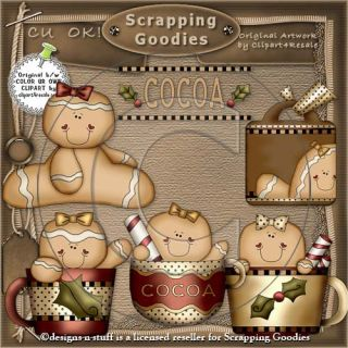 Christmas Clipart Set Cocoa Gingerbread Gingers Digital Scrapbooking Images CU