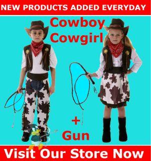 Cowboy Cowgirl Gun Fancy Dress Costume Child Boy Girl