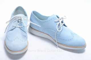 Cole Haan D39861 Lunargrand 6 5 Baby Blue Suede Oxford White Wingtip Laced Shoe
