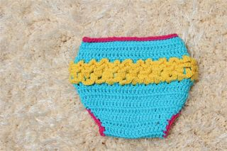 Cute Handmade Colorful Owl Newborn Baby Girl Knit Crochet Nappy Photo Prop New