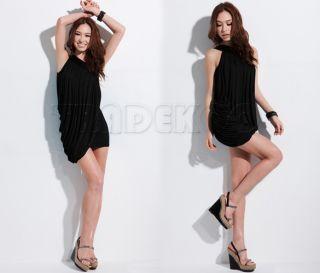 Women Korea Sexy Off Shoulder Pleated Drape Cocktail Evening Club Top Mini Dress