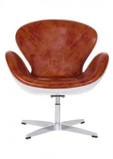 Aviator Arne Jacobsen Swan Chair Vintage Tan Leather Aluminium Spitfire