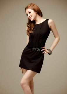 Sexy Girls Black Mini Summer Dress Cute Sequin Vintage Prom Party Evening Dress