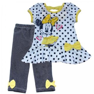 Minnie Mouse 2pcs Girls Baby Outfit Top Dress Pants Leggings Toddlers Clothes 2T