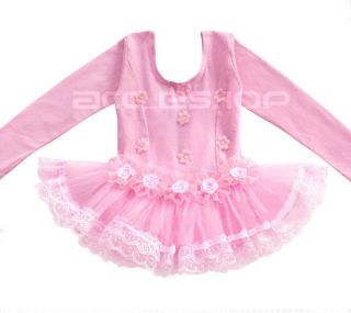 Girl Party Leotard Ballet Tutu Pink Dance Dress 4 5Y Costume Long Sleeve Skirt