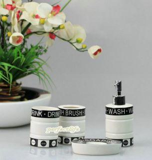 Classic Style 4 Pieces Ceramic Bathroom Accessories Set Vanity Dispenser GV US05