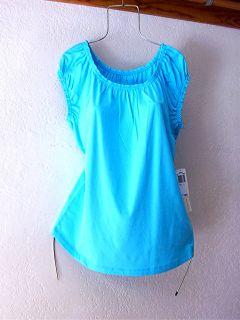 New Aqua Turquoise Blue Peasant Babydoll Blouse Shirt Tee Top 12 14 L Large